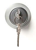 istock Deadbolt Lock with Keys Isolated on White Background 185406660
