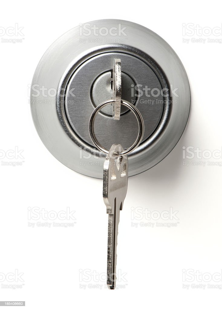 Deadbolt Lock with Keys Isolated on White Background stock photo