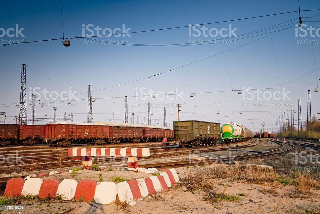 dead-end siding at the railroad station stock photo
