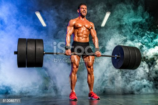 Male Athlete Performing some Heavy Duty Deadlift
