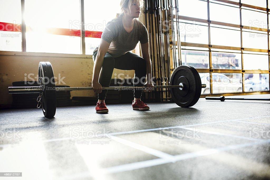 Deadlifts Cross Training Woman royalty-free stock photo