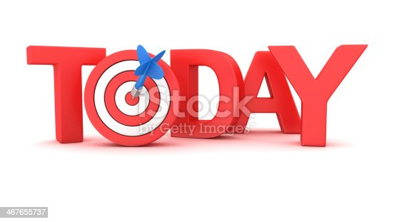 Word Today with small dartboard on white background
