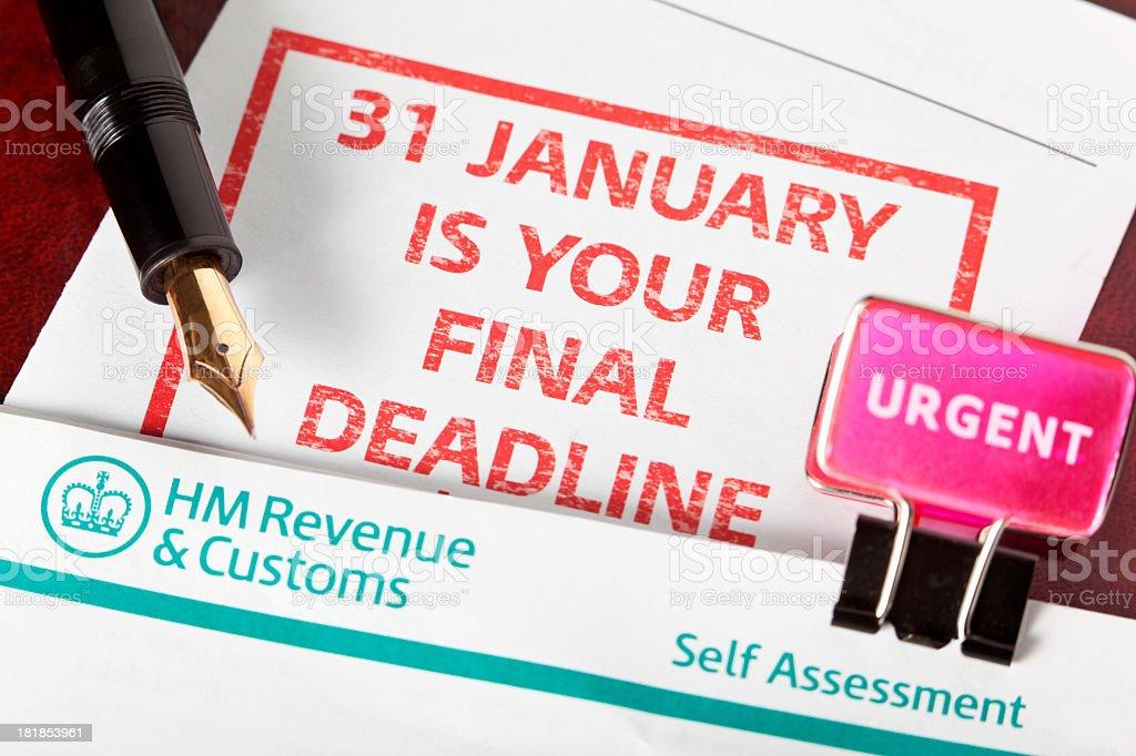 Deadline for Revenue and Customs self assessment is near stock photo