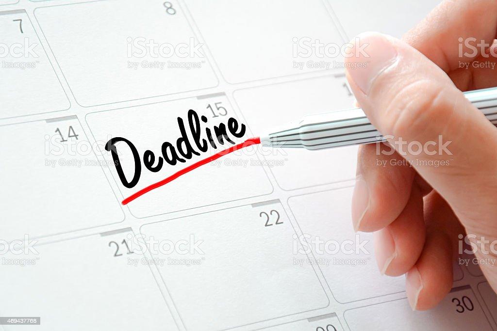 Deadline text on the calendar (or desk planner) stock photo