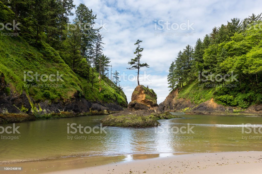 Deadman's Cove at Cape Disappointment in Washington, USA stock photo