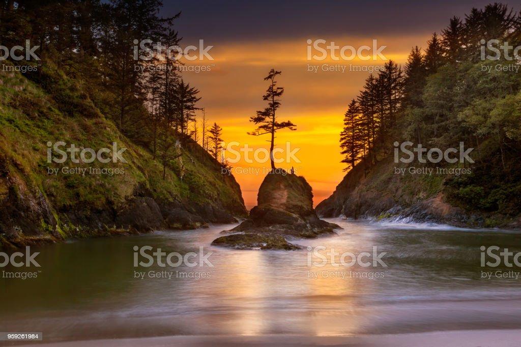 Verankerungs Bucht im Cape Enttäuschung State Park an der Küste von Oregon-Sonnenuntergang – Foto