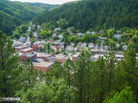 A panoramic overview of Deadwood, South Dakota as seen from one of the peaks of the Black Hills.