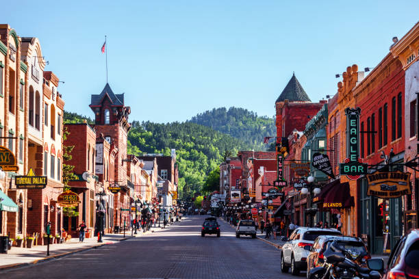 deadwood, south dakota - via principale foto e immagini stock