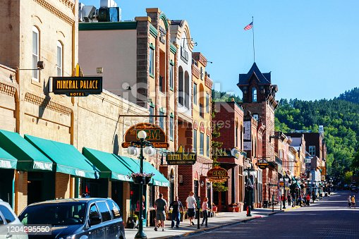 Deadwood, South Dakota - Crowded historic downtown mainstreet with shops, saloons, restaurants, casinos etc