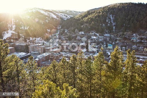 High angle cityscape of Deadwood, South Dakota.