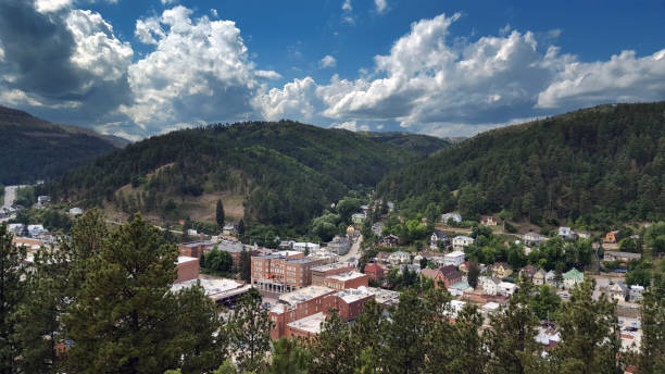 Deadwood, South Dakota Scenic Overlook from Mount Moriah Cemetery A over view of the city of Deadwood facing West from the higher ground to the East. driftwood stock pictures, royalty-free photos & images
