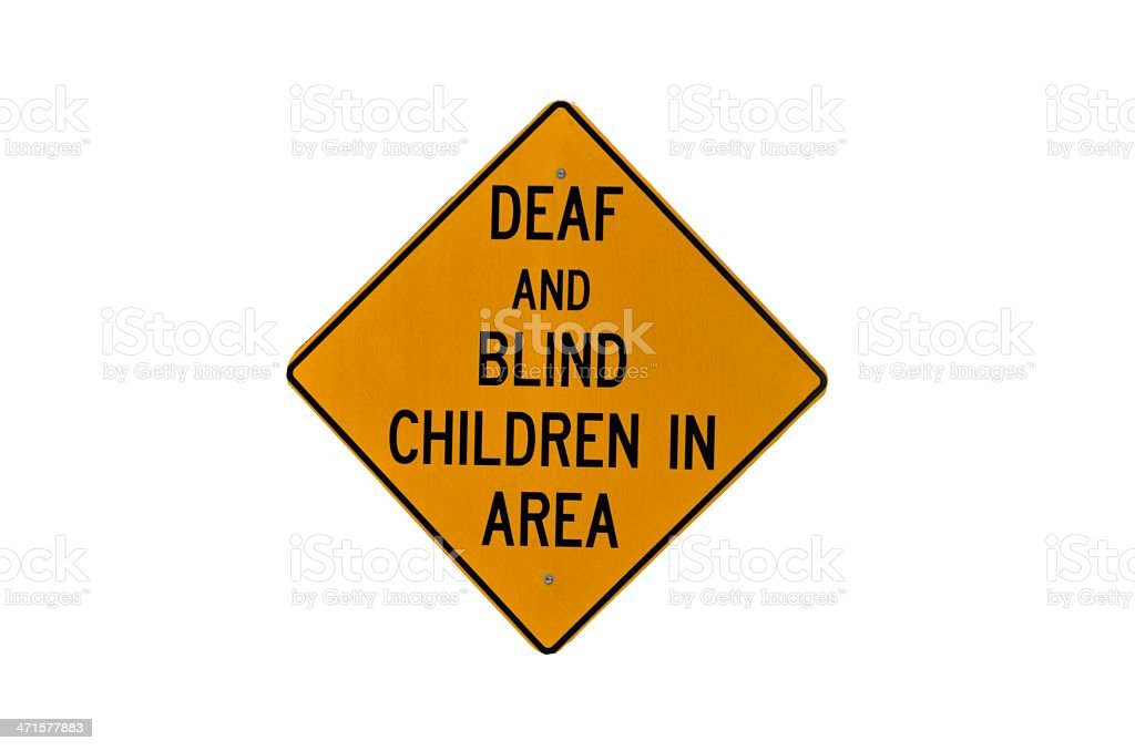 Deaf and Blind children in area sign royalty-free stock photo