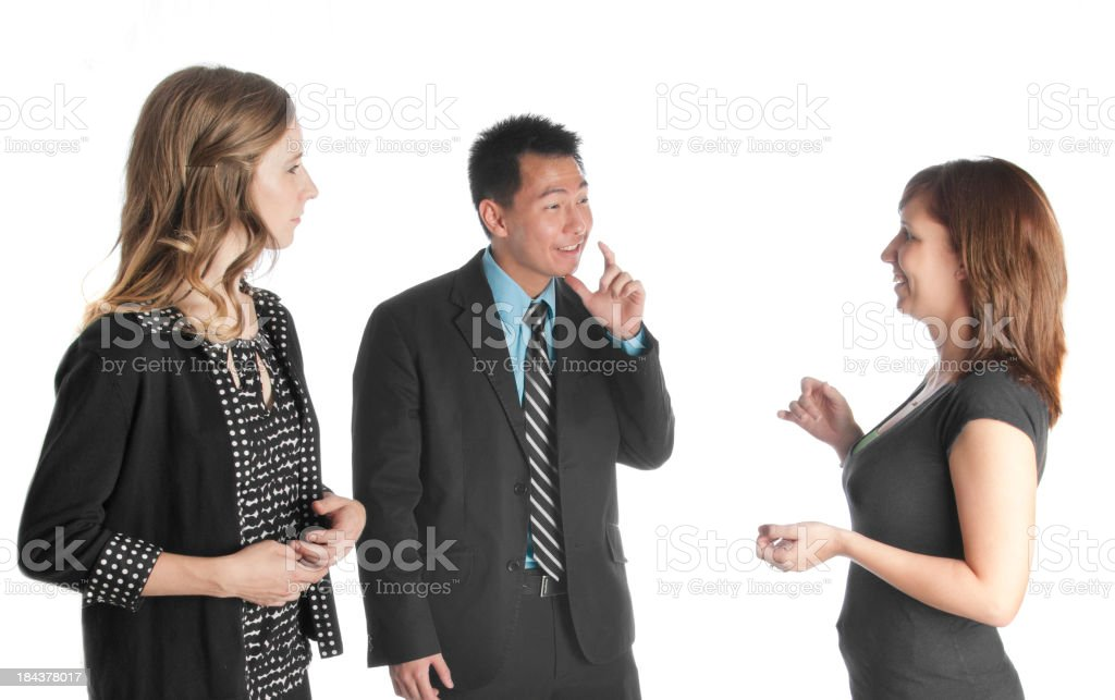 Deaf Coworkers Talking Together stock photo