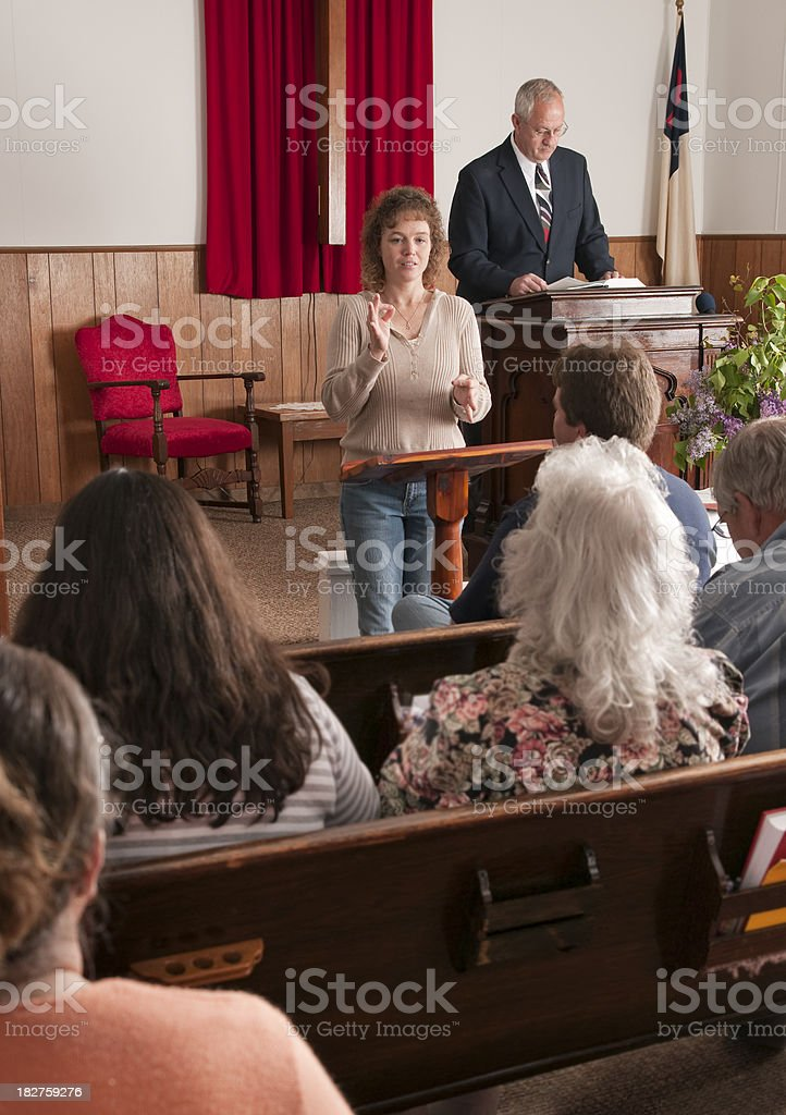 Deaf Interpreter for Church Service stock photo