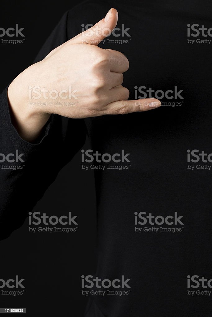 Deaf signs - letter J royalty-free stock photo