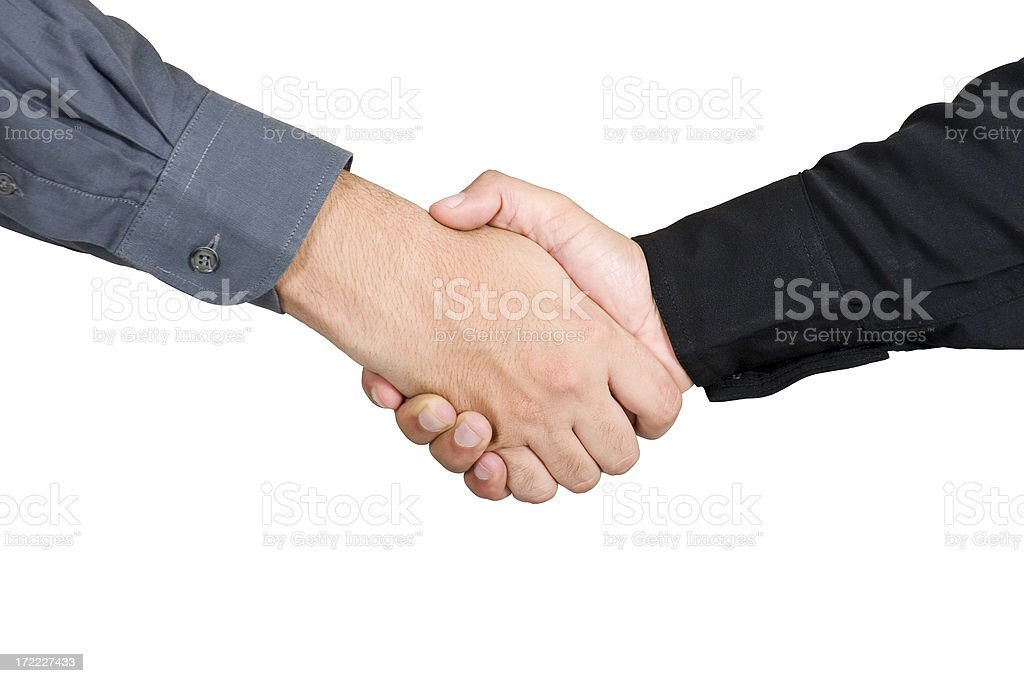 Deal Handshake Shaking Hands with clipping path isolated on White royalty-free stock photo