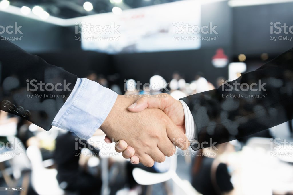Deal or agreement business concept, handshake double exposure,...
