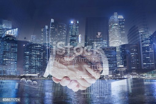 istock deal or agreement business concept, handshake double exposure 638571724
