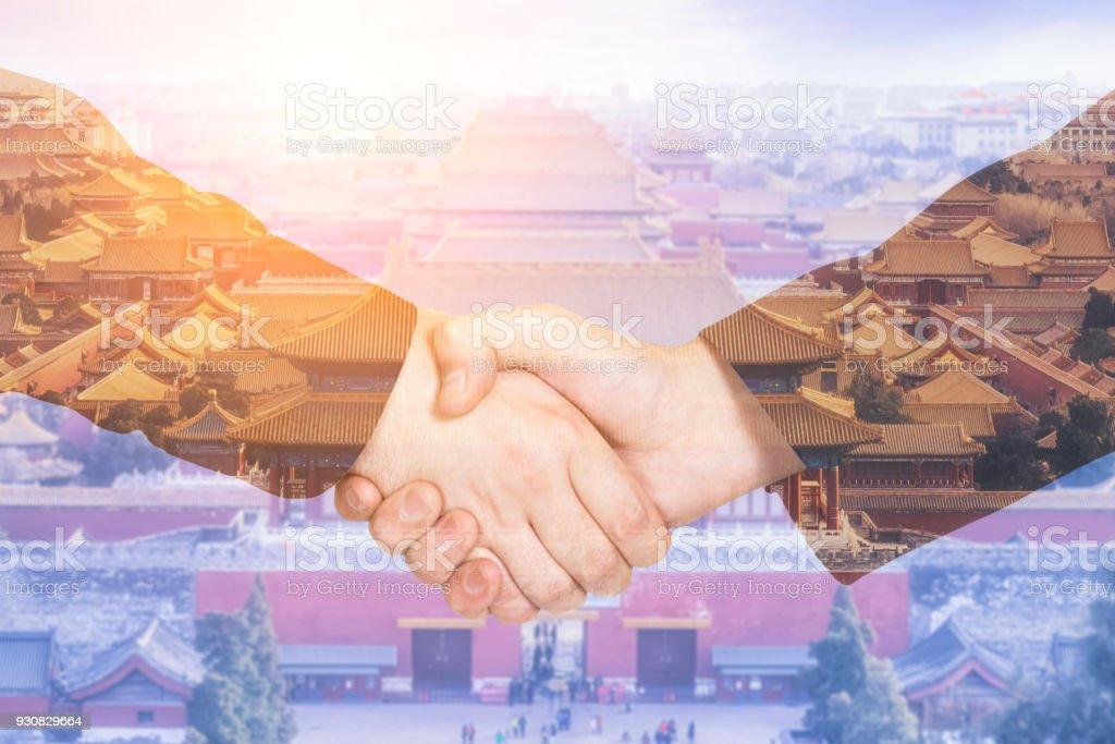 Abkommen oder Abkommen Geschäftskonzept, Handshake Doppelbelichtung – Foto