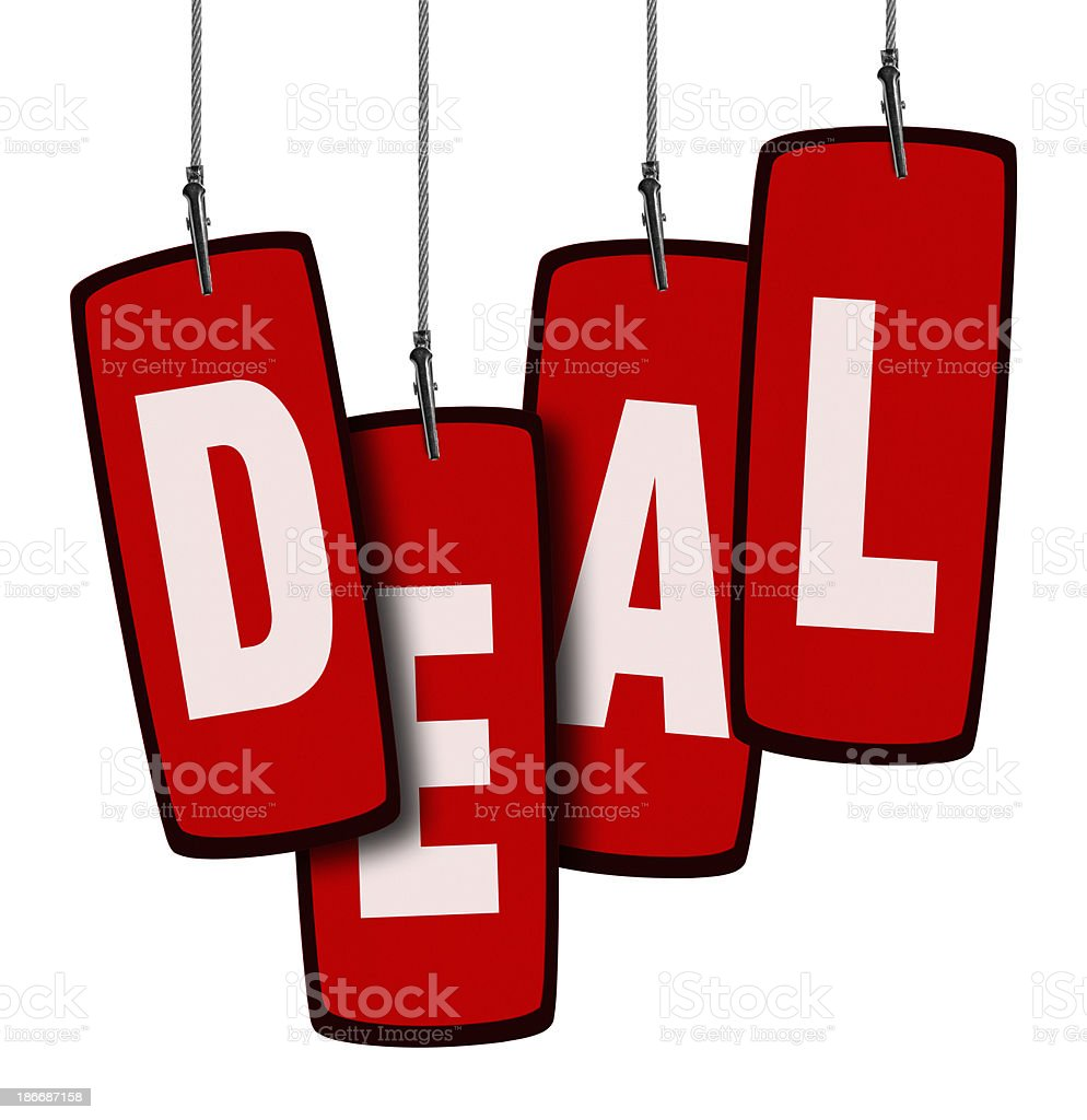 Deal Tag in Wire Clamp 4 (Clipping Path) royalty-free stock photo