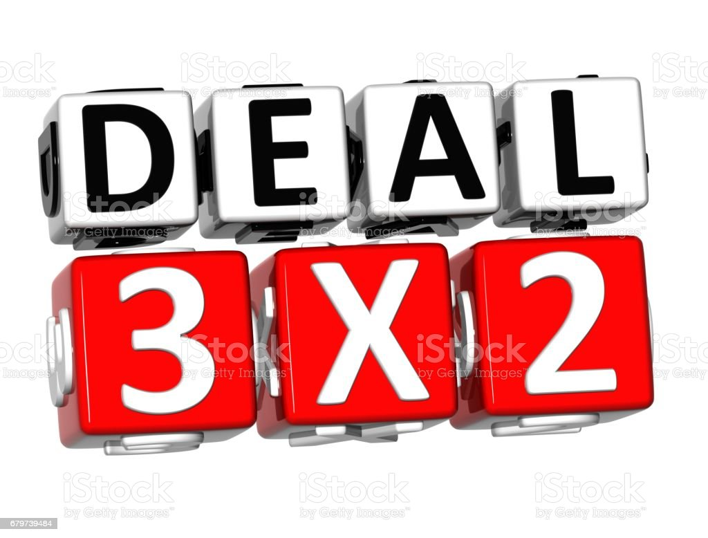 3D Deal Three For Two Button Click Here Block Text stock photo