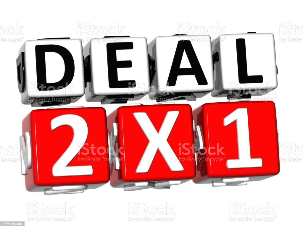 3D Deal Two For One Button Click Here Block Text stock photo