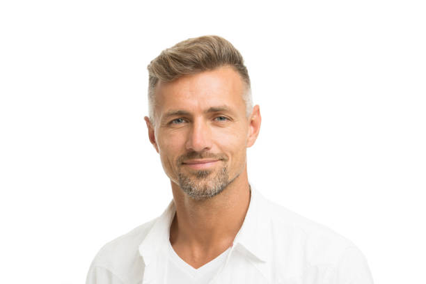 Deal with gray roots. Man attractive well groomed facial hair. Barber shop concept. Barber and hairdresser. Man mature good looking model. Silver hair shampoo. Anti ageing. Grizzle hair suits him stock photo