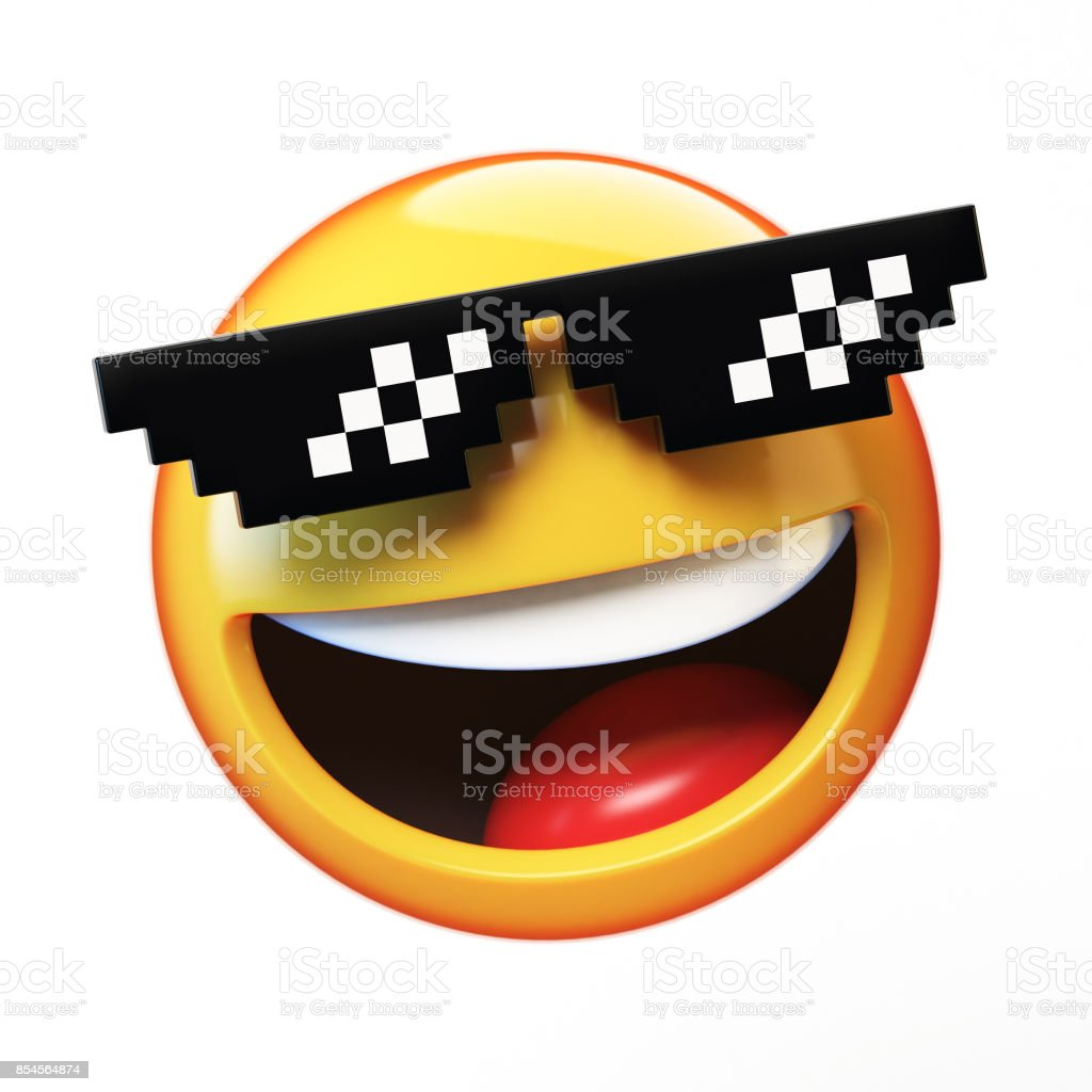 'Deal with it' emoji isolated on white background, emoticon with pixelated sunglasses stock photo