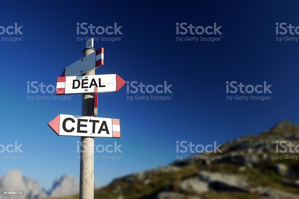 CETA deal written on road sign. stock photo