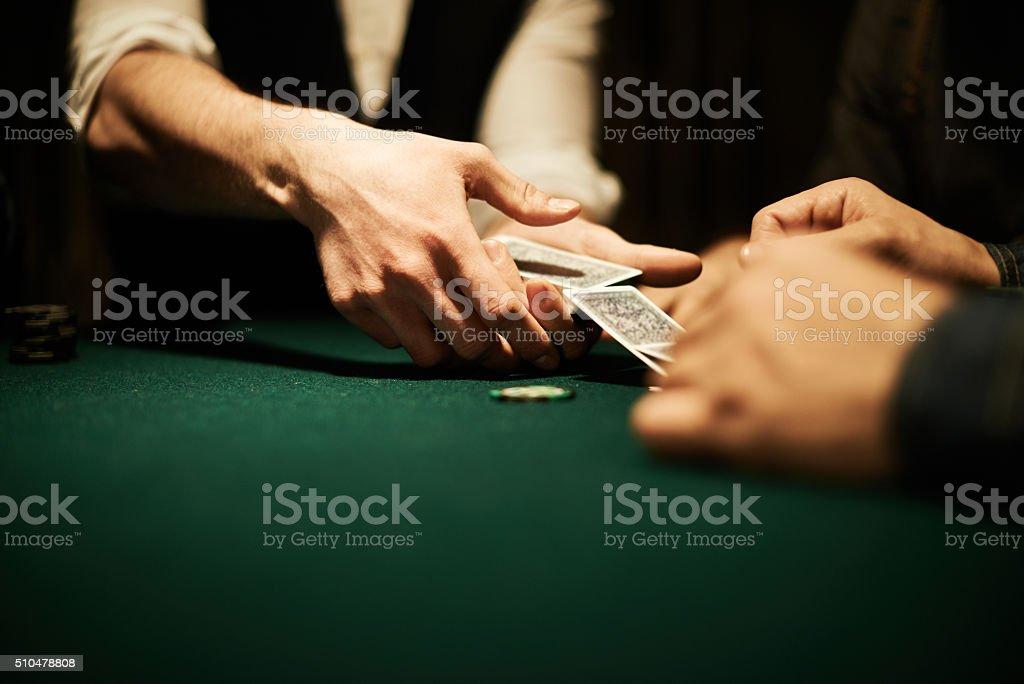 Dealer'€™s hands stock photo