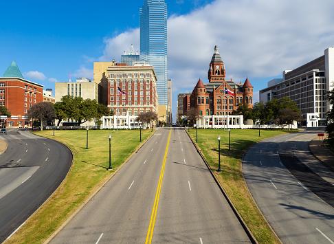 Site of President John F. Kennedy assassination on Elm Street at left.