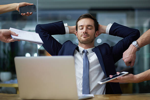 Dealing with corporate demands with calm stock photo