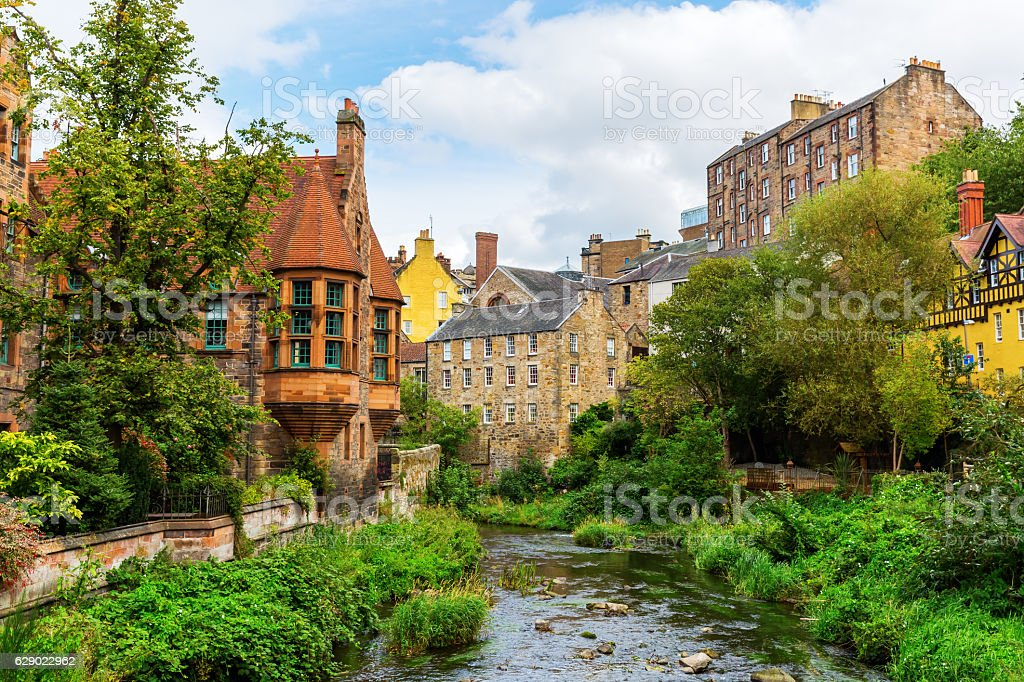 Dean Village along the river Leith in Edinburgh, Scotland stock photo