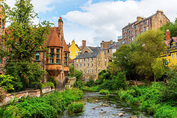 Dean Village along the river Leith in Edinburgh, Scotland picturesque Dean Village along the river Leith in Edinburgh, Scotland edinburgh scotland stock pictures, royalty-free photos & images