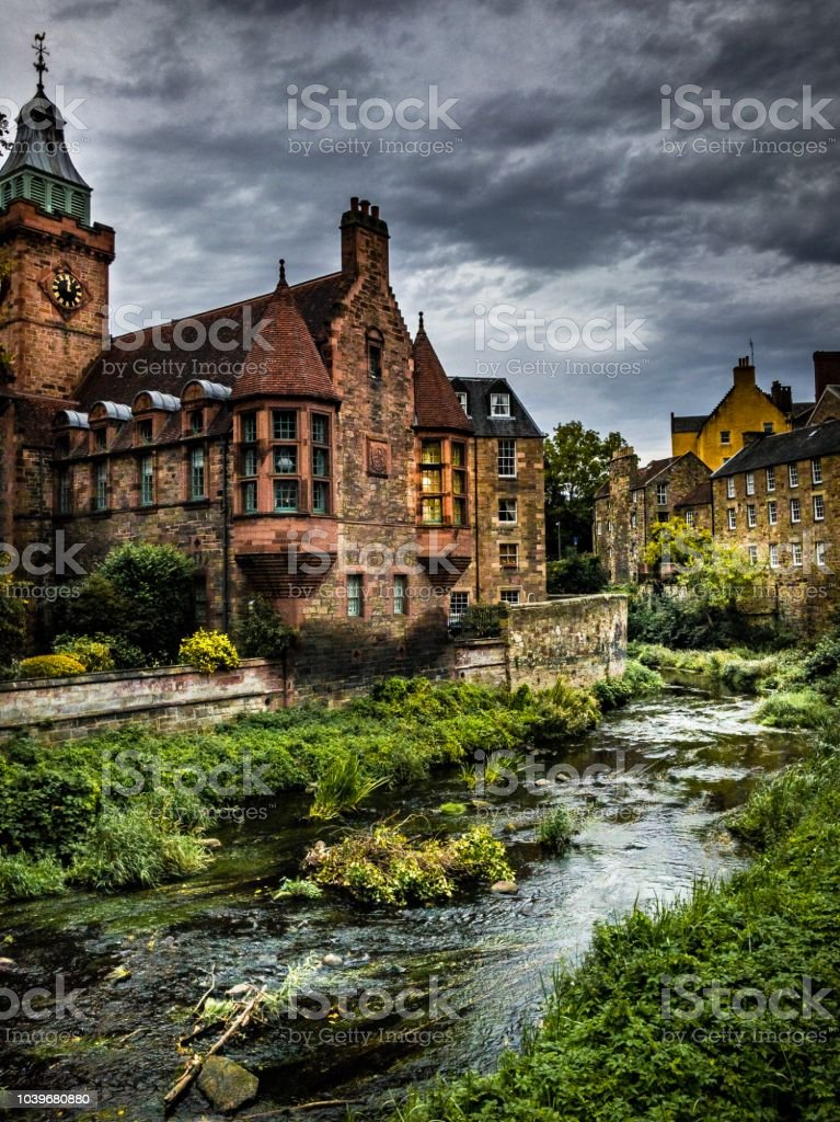 Deans Village flowing river Edinburgh Scotland stock photo