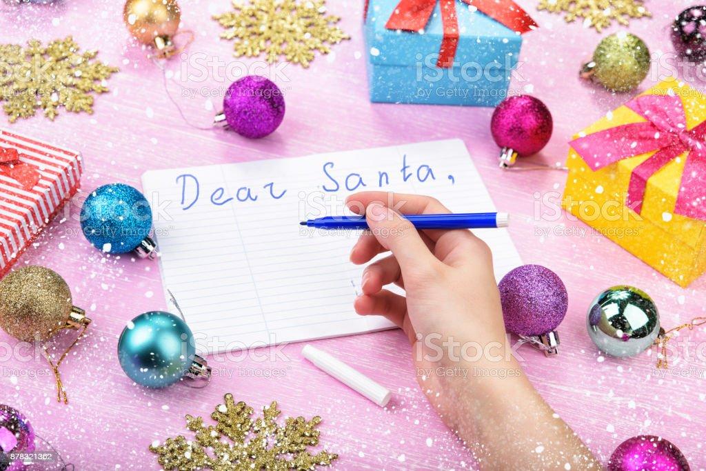 Dear Santa letter on pink background. stock photo