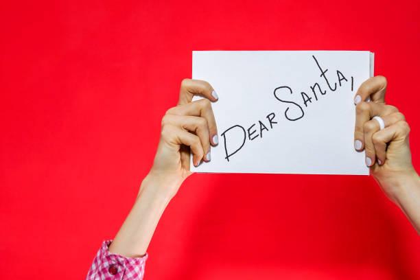 sehr geehrte santa - brief an den weihnachtsmann - zitate weihnachten stock-fotos und bilder