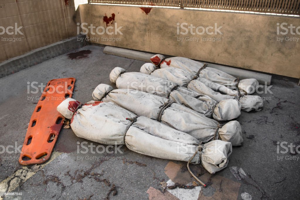 Death bodies in bags after zombie attack stock photo