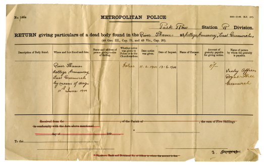 A certificate of particulars issued by the Metropolitan Police for a man found drowned at Greenwich in 1900. All names removed.