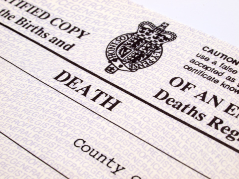 Uk Death Certificate Stock Photo - Download Image Now