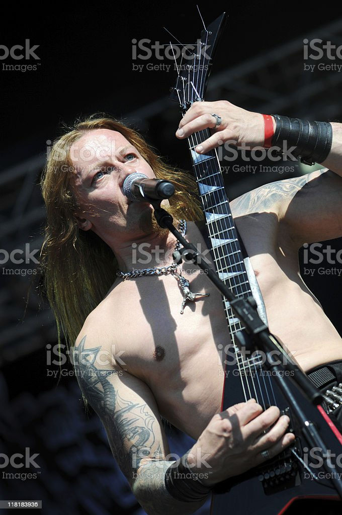 death metal guitarist playing royalty-free stock photo
