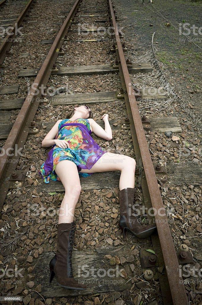 Death on the tracks stock photo