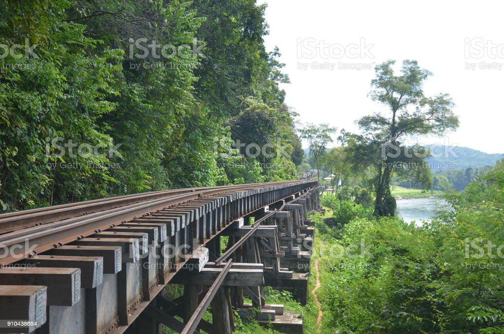 Death Railway Bridge Kanchanaburi Thailand stock photo