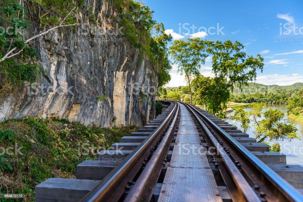 Death railway, built during World War II,Kanchanaburi Thailand stock photo