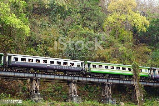 Kanchanaburi, Thailand - February 21, 2015: Vintage Locomotive passes Death Railway in Kanchanaburi, Thailand.