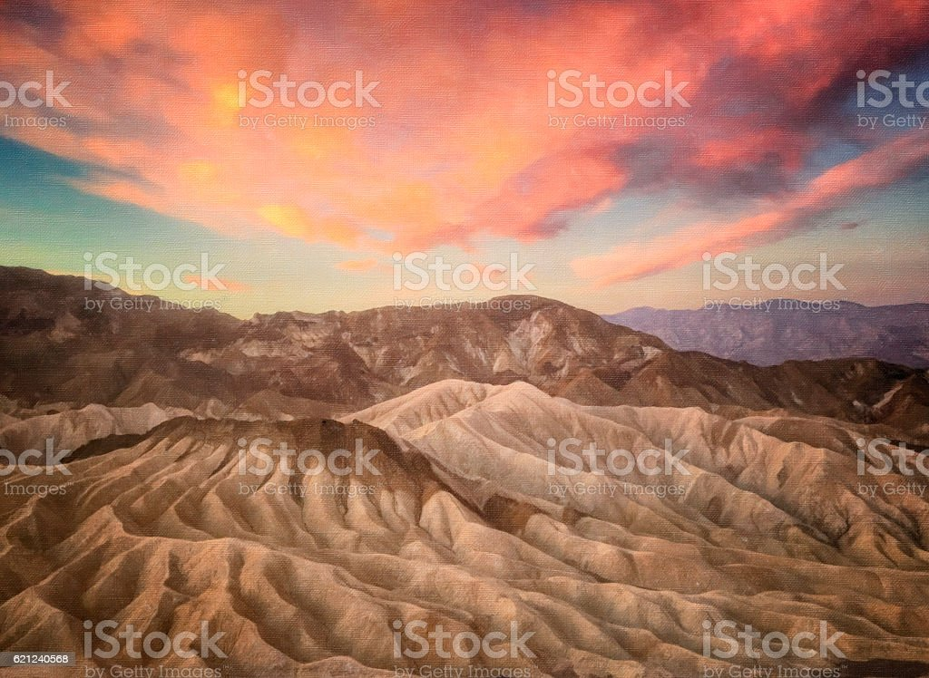 Death Valley at sunrise digital oil painting stock photo