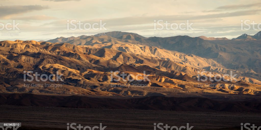 Death Valley Badlands Panoramic View Sunset stock photo