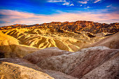 The unique and beautiful landscape of the Badlands of Death Valley National Park from Zabriskie Point
