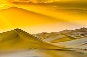 Sunset in Badwater, Death Valley National Park. Badwater is the lowest point in the USA, located in Death Valley National Park, California.