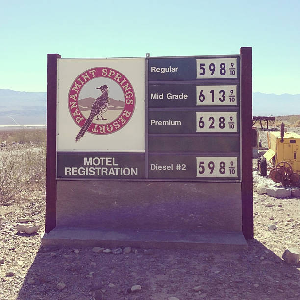 Death Valley Gas Station Price Sign Stock Photo - Download Image Now